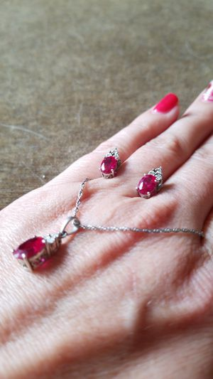Ruby's and diamond earrings and necklace for Sale in Hillsboro, OR