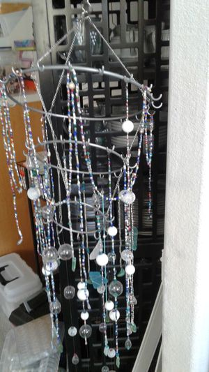 Unfinished Beaded Chandelier with more beads on the side. for Sale in Chesapeake, VA