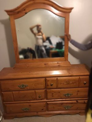 $400-Queen Oak Bed- Head and Foot Board, dresser with mirror and Chester Dresser for Sale in St. Louis, MO