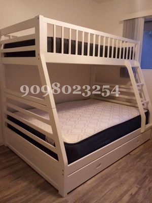Twin/full white bunkbed w. Orthopedic mattresses included for Sale in Victorville, CA