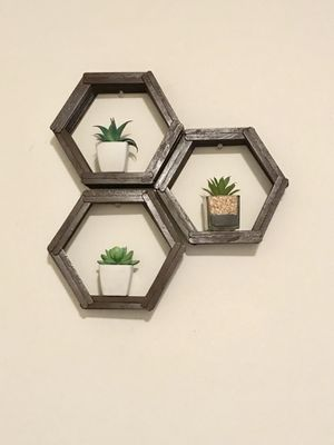 Hexagon hanging shelves (succulents not included) for Sale in Virginia Beach, VA