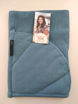 Rachael Ray Kitchen Towel Oven Glove Moppine 2-in-1 Kitchen Towel Pot-Holder Padded Pockets to Handle Hot Cook & Bakeware,Smoke blue MSRP $17.72 for Sale in West Hills, CA