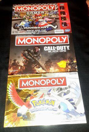 Pokemon , Mario Kart & COD Monopoly for Sale in Clovis, CA