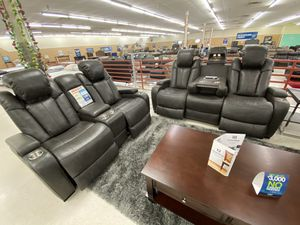 Brand new grey leather power reclining sofa and loveseat with USB ports only $39 down for Sale in Dallas, TX