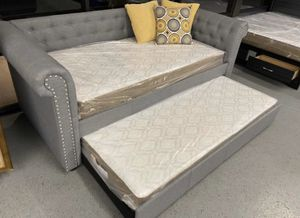 Furniture mattress- twin trundle day bed frame + mattress for Sale in North Highlands, CA