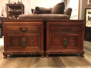 Vintage Pair of Chinese rosewood pedestal bedside cabinets for Sale in Anaheim, CA
