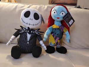 13 in animated Jack and Sally The Nightmare Before Christmas Disney plushies for Sale in Torrance, CA