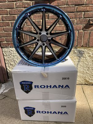 Rohana rc10 set rims. 20x10 5x112 45et cb66.56 & 20x9 5x112 35et cb66.56 machine black / chrome. Lip Benz car Audi car brand new rims for sale for Sale in Queens, NY