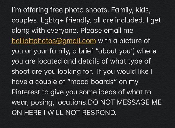 FREE PHOTOSHOOTS !!!!READ POST FIRST!!!!