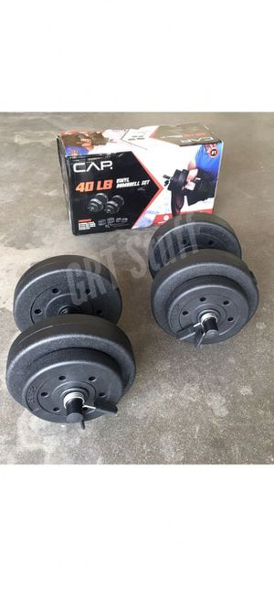 PAIR - 2 x 20 lbs - Dumbbells Adjustable Vinyl Weights (40 LBS) dumbell NEW for Sale in Modesto, CA