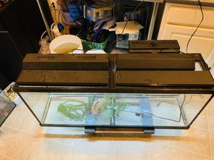 55 gal fish tank and filter light and stand heater for Sale in Glen Burnie, MD