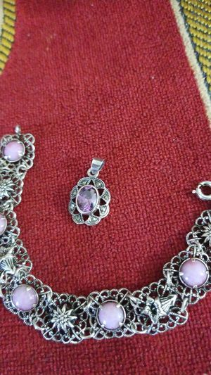 925 sterling silver bracelet and pendant set for Sale in Kissimmee, FL