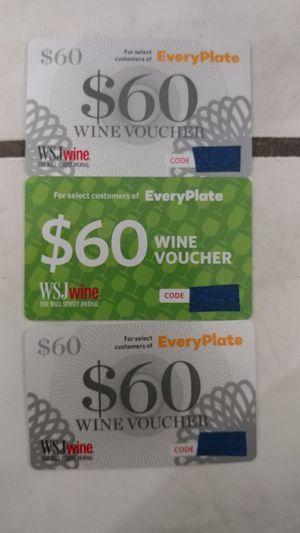 (3) $60 wine Vouchers! That's $180 on savings! for Sale in Merritt Island, FL