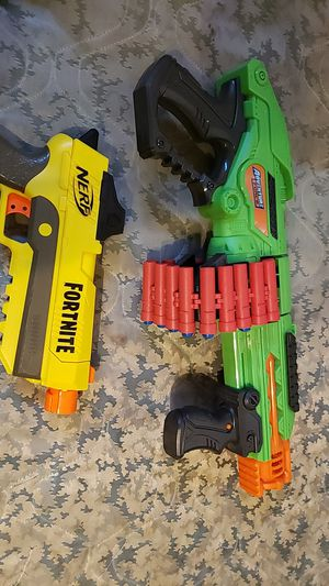 TWO PLAY GUNS ONE FORTNITE NERF AND OTHER ADVENTURE FORCE for Sale in Lodi, CA