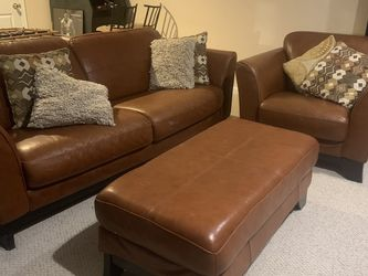 Leather Sofa And Chair With Ottoman for Sale in Manassas,  VA