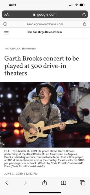 Garth Brooks Drive-In Concert Tickets for Sale in San Diego, CA