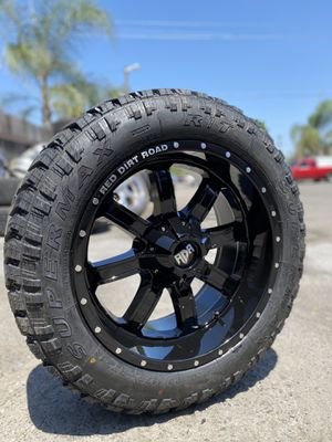 20x10 black rims with lt275-55-20 gmc Chevy ford Nissan Toyota for Sale in Modesto, CA