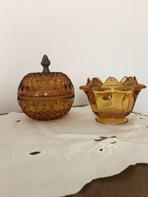 Amber etched candy dishes? for Sale in West Columbia, SC