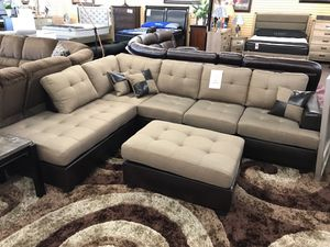 Sectional sofa with ottoman on sale only at elegant Furniture 🛋🎈🛏 for Sale in Fresno, CA