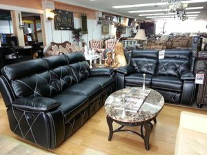 2 pc black recliner set other colors available we offer layaway and finance for Sale in Dearborn, MI