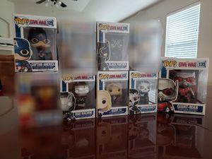 Funko Pop Lot, Captain America Civil War - Captain America, Agent 13, Crossbones, GIANT-MAN, War Machine, Black Panther. for Sale in Pflugerville, TX