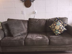 Three seat sofa velvet with 2 free golden deigned pillows for Sale in El Paso, TX