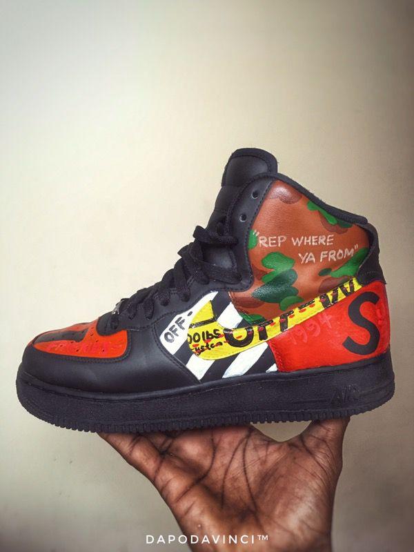 Bape X Kaws >> Custom Sneakers Nike Air Force 1 Vlone Supreme Bape Gucci ...