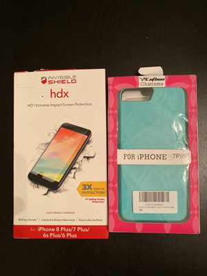 NEW IPHONE COVER WALLET CARD HOLDER + ZAGG INVISIBLE SHIELD SCREEN PROTECTOR - iPHONE 8 PLUS, 7 PLUS, 6S PLUS, 6 PLUS for Sale in Rolling Hills Estates, CA