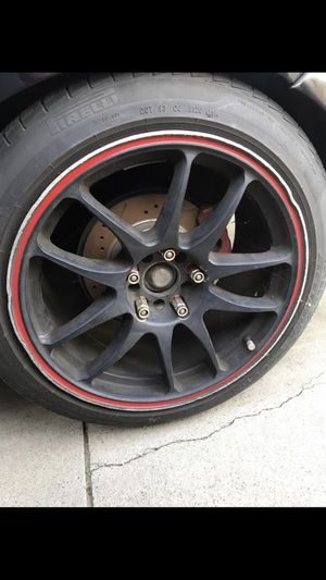 Drag DR31 DR 31 Wheels Rims 17x9 +38 5x114 and 5x100 Black with Red Stripe for Sale in Ontario, CA