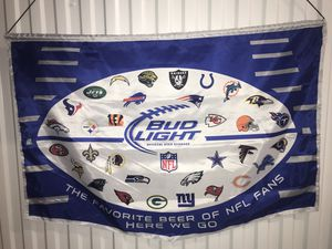 Bud light NFL football banner silk material for Sale in Colorado Springs, CO