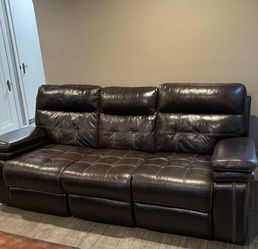 2 Leather Couches With Recliners+ Table for Sale in Dearborn,  MI