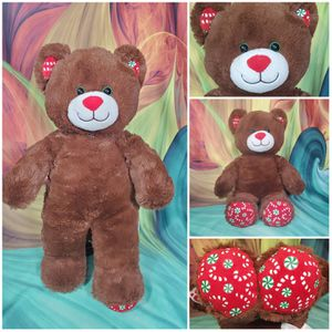 """Build A Bear Peppermint Kisses Candy Cane Christmas Brown 16"""" Plush Teddy for Sale in Dale, TX"""