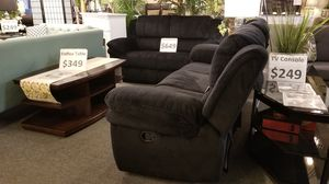 Brand new black padded suede or grey gel leather manual reclining sofa + loveseat 2PCs set for Sale in San Diego, CA