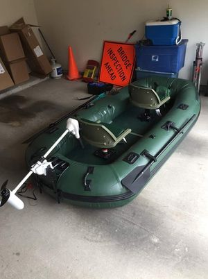 (NEW) Sea Eagle Stealth Stalker Inflatable Boat with Trolling Motor + Optima Bluetop Group 34 Marine Battery for Sale in Houston, TX