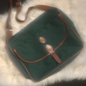Vintage Ralph Lauren Polo Messenger Bag Canvas Green Cognac 14 x 13 for Sale in Montclair, CA