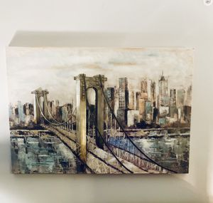 HUGE Hand painted print on stretched canvas Giovanni Russo, Deep Blue Cityscape subject for Sale in Murfreesboro, TN