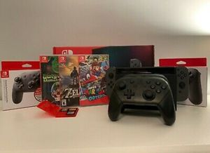 GRAY - Nintendo Switch Bundle (TWO Pro Controllers + 6 Games + Gray Joy-Cons). You can reach me on3469541337for swift response for Sale in Houston, TX