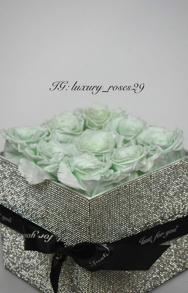 Eternal Box Roses Real Preserved Flowers Bouquet Bucket Rhinestones Glitter Crystal Bling Gift Present Thanksgiving Christmas Prom Holiday Decor