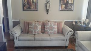Beige sofa with 5 decorative pillows for Sale in Florissant, MO