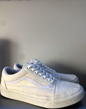 All White Low Top Vans Men's Size 9.5 for Sale in Round Lake, IL