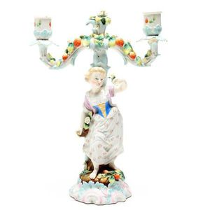 Elegant Antique Meissen Johansen Roth JR Porcelain Figural Candelabra for Sale in Lakewood, CO