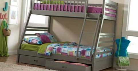 BUNK BEDS Twin Over Full Bunk Bed In Grey FREE MATTRESSES for Sale in Decatur,  GA