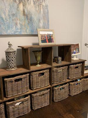 Handmade wooden storage with baskets for Sale in Nashville, TN