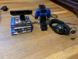 5 PS4 games /1 blue remote control /1 camera/Xbox headphones EAR FORCE X32 for Sale in Providence, RI