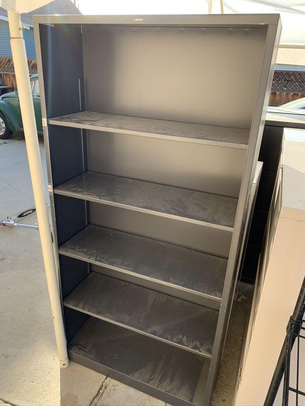 Tall metal shelves