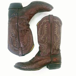 Ostrich Sz 10 Cowboy Boots Vintage Justin Leather Western Boots for Sale in Denver, CO