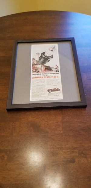 Vintage Champion spark plug ad framed! for Sale in Tacoma, WA