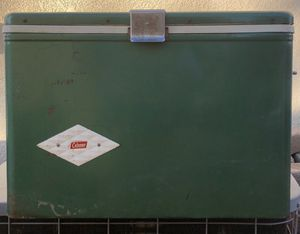 Coleman Metal Cooler Chest Diamond Logo Metal Green Vintage for Sale in Murrieta, CA