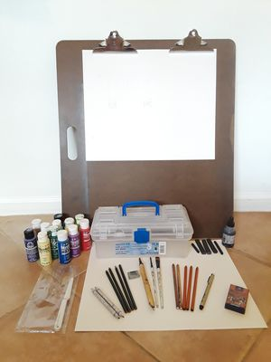 Drawing board, Art Tool Box, plus some used art supplies for Sale in Weston, FL