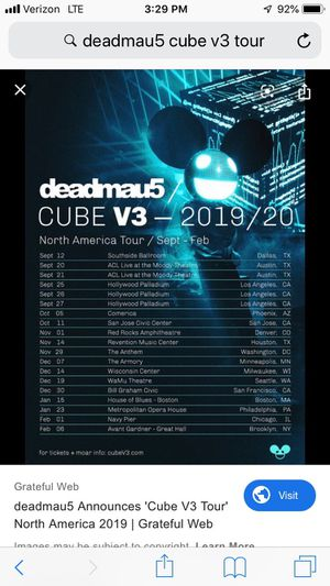 Deadmau5 Tickets Hollywood for Sale in Upland, CA